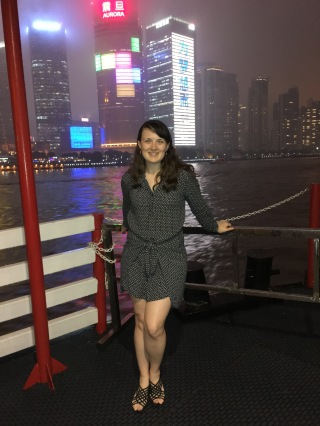 Chelsea on a ferry in Shanghai, China in 2017