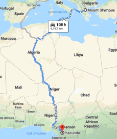 Map of travel from Mount Olympus to Yaounde, Cameroon